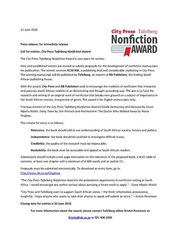 Press release non-fiction prize