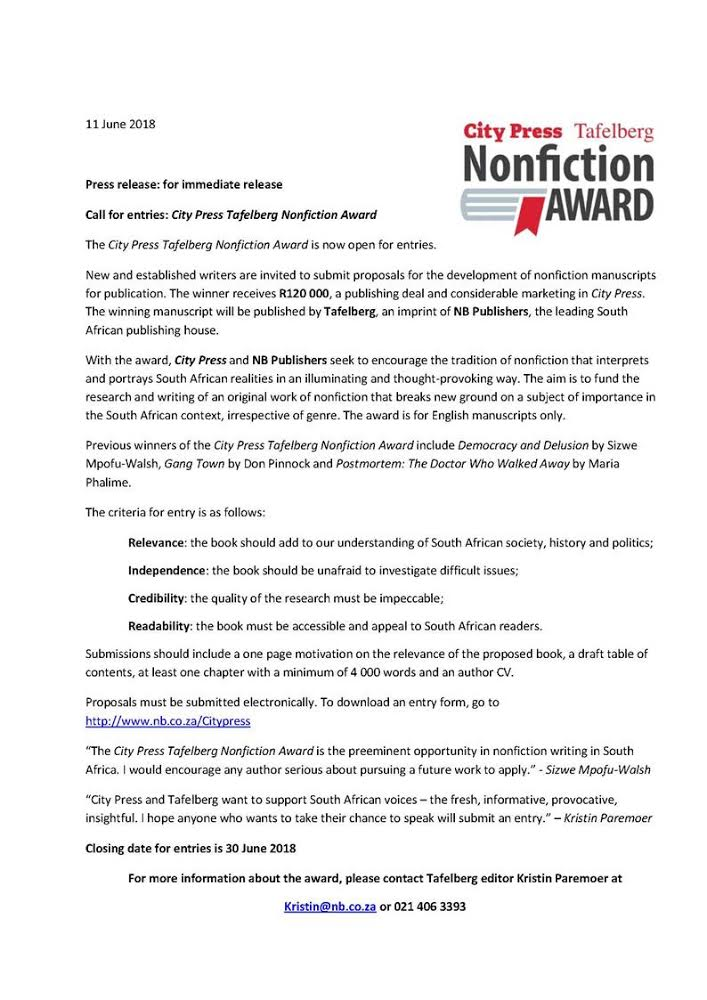 Press release non-fiction prize